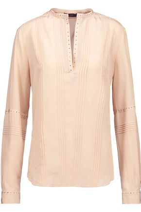 BELSTAFF Dana stud-embellished pintucked silk blouse