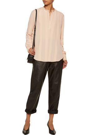 BELSTAFF Dana stud-embellished pintucked silk blouse
