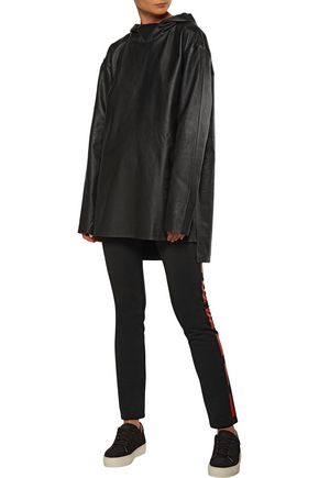 Y-3 + adidas Originals appliquéd leather hooded top