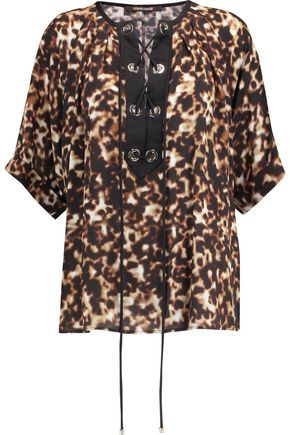 ROBERTO CAVALLI Lace-up leopard-print silk-crepe top