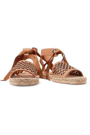 PALOMA BARCELÓ Gabrielle swarovski crystal-embellished cutout leather espadilles