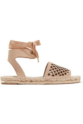 PALOMA BARCELÓ Gabrielle embellished laser-cut leather espadrille sandals