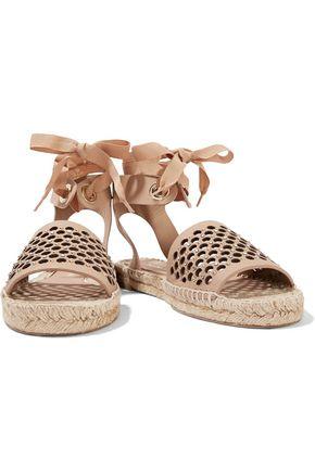 PALOMA BARCELÓ Gabrielle embellished laser-cut leather espadrille sandals