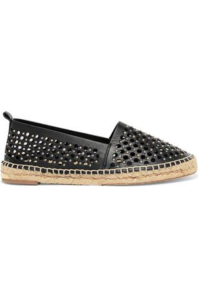 PALOMA BARCELÓ Giselle crystal embellished laser-cut leather espadrilles