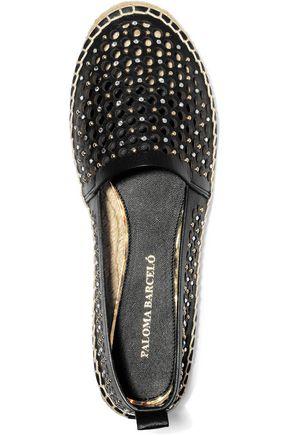 PALOMA BARCELÓ Giselle crystal embellished laser-cut leather espadrilles