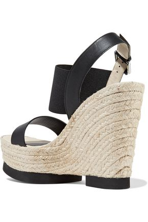PALOMITAS by PALOMA BARCELÓ Claudia leather and stretch-knit wedge sandals