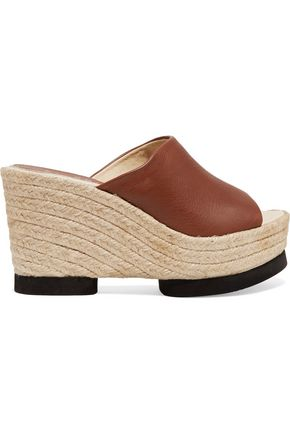 PALOMITAS by PALOMA BARCELÓ Conchita leather espadrille wedge mules