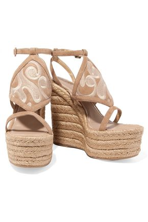PALOMA BARCELÓ Dali cutout embroidered suede espadrille wedge sandals