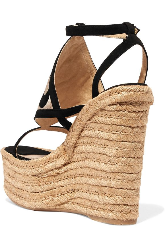 Dalì cutout embroidered nubuck espadrille wedge sandals | PALOMA BARCELÓ | Sale  up to 70% off | THE OUTNET