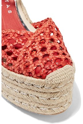 PALOMA BARCELÓ Ester braided leather and woven wedge espadrille sandals