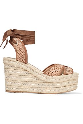 PALOMA BARCELÓ Woven leather wedge espadrille sandals