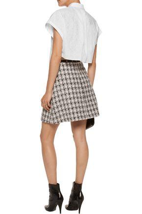 GIAMBA Asymmetric cotton-poplin and embroidered cotton-blend shirt