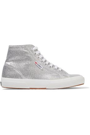 SUPERGA® Glittered canvas high-top sneakers