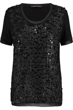 ROBERTO CAVALLI Sequinned jersey top