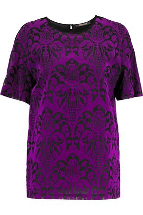 ROBERTO CAVALLI Flocked silk top