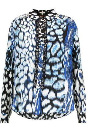 ROBERTO CAVALLI Ruffle-trimmed printed silk-crepe blouse