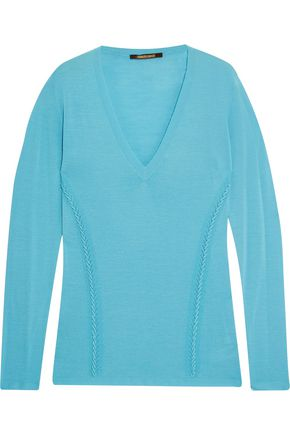 ROBERTO CAVALLI Embroidered open knit-paneled wool-jersey top