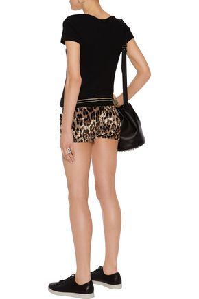 ROBERTO CAVALLI Leopard-print velour shorts