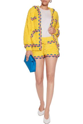 MOSCHINO Embroidered knitted cotton and linen-blend hooded sweatshirt