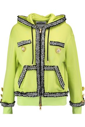 MOSCHINO Embellished jersey hooded sweater