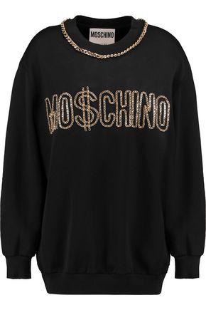 MOSCHINO Chain-embellished jersey sweatshirt