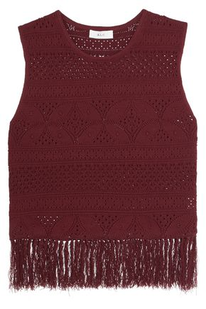 A.L.C. Fringed pointelle-knit top