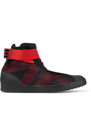 Y-3 + adidas Originals Loop Court mesh and neoprene high-top sneakers