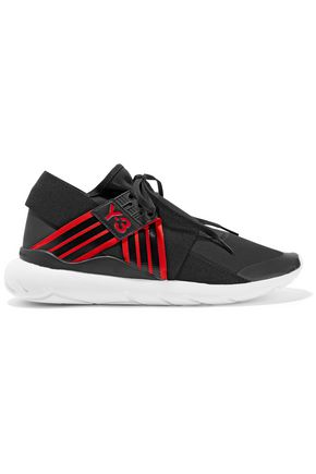 Y-3 +adidas Originals Qasa Elle leather-trimmed neoprene sneakers