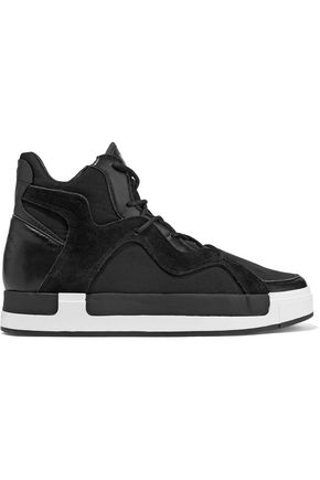 Y-3 + adidas Originals Riyal III leather and suede-trimmed neoprene high-top sneakers