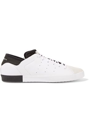 Y-3 + adidas Originals Smooth Court suede-paneled perforated leather and neoprene sneakers
