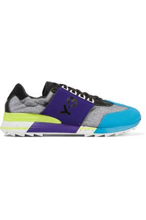 854b6a347446 Y-3 + adidas Originals Rhita Sport leather-trimmed mesh and neoprene  sneakers ...