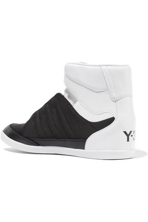 Y-3 + adidas Originals neoprene and leather-trimmed canvas high-top sneakers