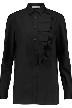 MARNI Ruffled cotton-poplin shirt