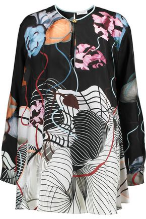 VIONNET Printed silk-twill blouse