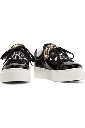 KENZO Embellished patent-leather platform sneakers