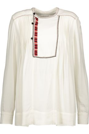 ISABEL MARANT ÉTOILE Crimson pleated embroidered crepe blouse