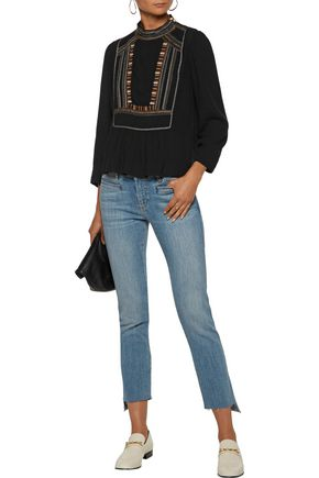ISABEL MARANT ÉTOILE Cerza embroidered crepe blouse