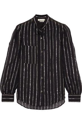 ISABEL MARANT ÉTOILE Samson metallic-trimmed cotton-gauze blouse