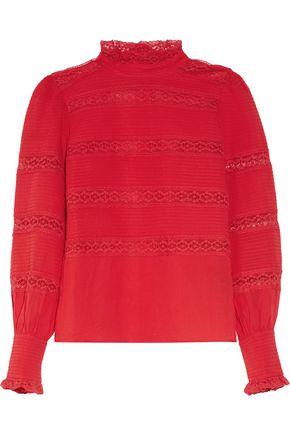 ISABEL MARANT ÉTOILE Ria lace-paneled pintucked cotton-voile blouse