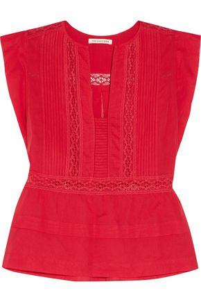 ISABEL MARANT ÉTOILE Rodge lace-trimmed cotton-voile top