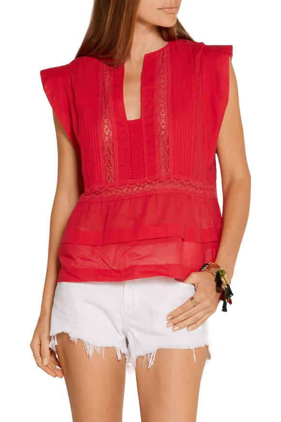 Rodge lace-trimmed cotton-voile top | ISABEL MARANT ÉTOILE | Sale up to 70%  off | THE OUTNET
