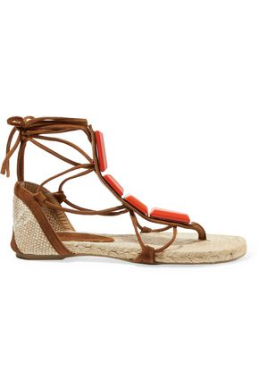 CASTAÑER Irina canvas-trimmed embellished suede lace-up espadrilles