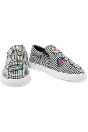 MIRA MIKATI Appliquéd houndstooth canvas slip-on sneakers