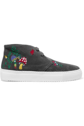 MIRA MIKATI Embroidered suede sneakers
