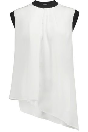 VIONNET Asymmetric pleated silk-crepe and wool top