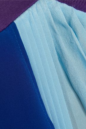 VIONNET Plissé-paneled silk top
