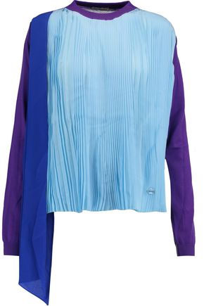VIONNET Plissé-paneled silk and wool-blend top