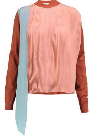 VIONNET Plissé-paneled silk and wool-blend top
