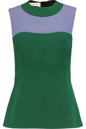 MARNI Color-block crepe top