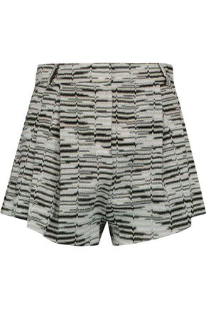 MISSONI Pleated metallic crochet-knit shorts